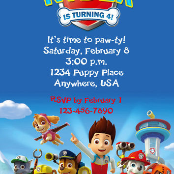 PAW PATROL Nick Jr Birthday Party Invitation - Completely Customized