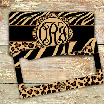 animal print monogram license plate frame car tag bicycle license plate bike - Monogram License Plate Frame