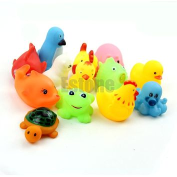 13PCS Lot Soft Rubber Float Squeeze Sound Wash Play Animals Cute Baby Bath Toys