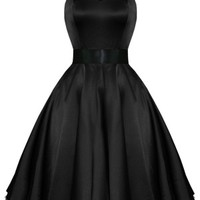 Kelly Dress in Black Satin