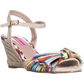 Betsey Johnson Lizzie Knot Wedge Sandals, Natural Multi, 7.5 US