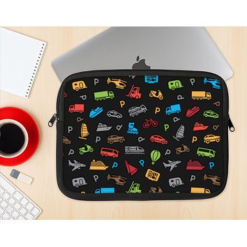 The Colorful Travel Collage Pattern Ink-Fuzed NeoPrene MacBook Laptop Sleeve