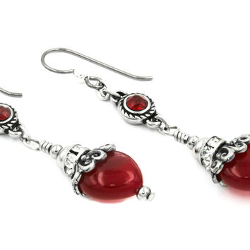 Red Star Quartz Earrings, Heart Earrings