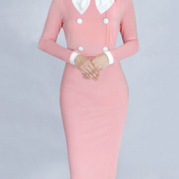 Autumn Pink Round Neck Bowknot Buttons Stitching Long Sleeve Bodycon Midi Pencil Work Dress