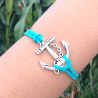 wish bracelet anklet personalized lucky anchor bracelet anklet flocking leather bracelet summer trending friendship bridesmaids love gifts