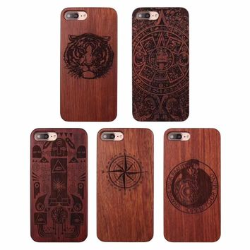 SZYSGSD Real Wood Case For iPhone 8 8 Plus 7 7 Plus Cases Natural Wood Hard Back Phone Cover For iPhone 6 6s 6 Plus Cases Coque