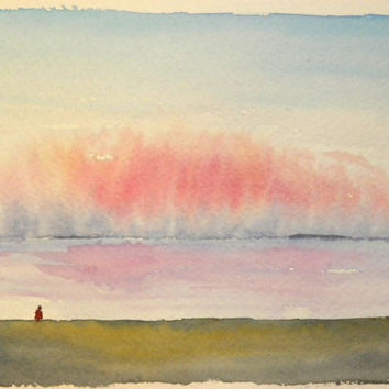 A Beach. Original Watercolor Painting.