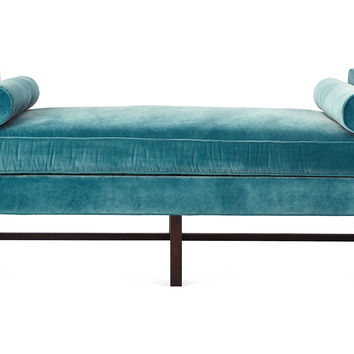 Andrew Velvet Day Chaise, Calypso Blue, Daybeds