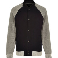 River Island MensBlack zip through raglan sleeve bomber jacket