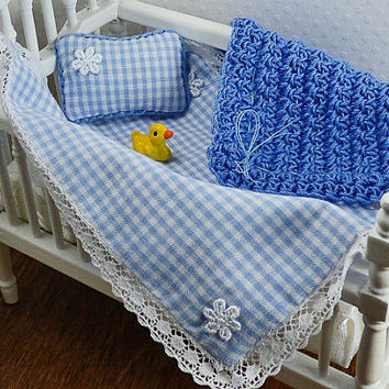 Baby Blue Blanket Dollhouse Miniature Baby Bedding Tiny Pillow Little Afghan 12 Scale Adorable Accessory Collector Gift Set Art Collectibles