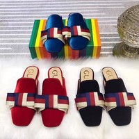 shosouvenir :GUCCI:  Women Velvet slipper with Sylvie bow