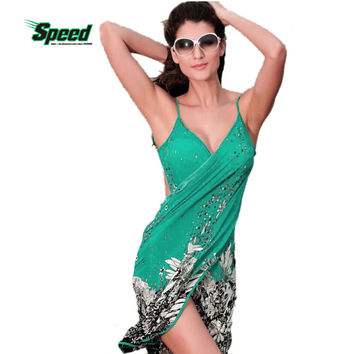 2017 New Hot Women Beach Dress Sexy Sling Beach Wear Dress Sarong Bikini Cover-ups Wrap Pareo Skirts Towel Open-Back Swimwear