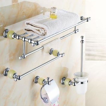 New brass and Jade Bathroom Accessories Set,Paper Holder,Towel Bar,Soap basket,towel rack,towel ring, bathroom hardware sets