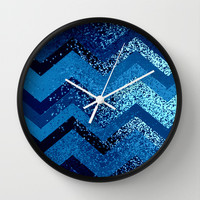 sparkly and dark blue adventure Wall Clock by Marianna Tankelevich