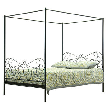 Design Studios Antiquity Queen Canopy Bed - Black
