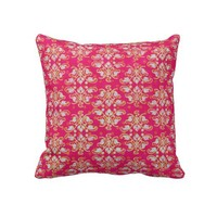 Pink & Yellow Damask Throw Pillow from Zazzle.com