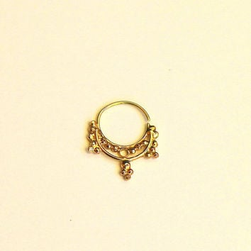 Hindu septum jewelry - 14 karat yellow gold - gold Nose Ring- nose jewelry - septum ring - tragus piercing - cool gift