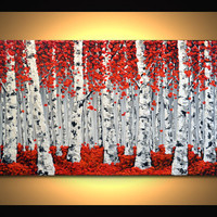 "ORIGINAL Art Modern Red Birch Trees Painting Aspen Forest Textured Landscape Home Decor 36x24"" Abstract Palette Knife Artwork, unique gift"