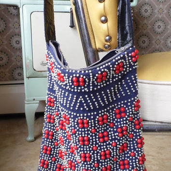 Hippie Red White and Blue Beaded Pocketbook, Purse With Fringe From the '70s