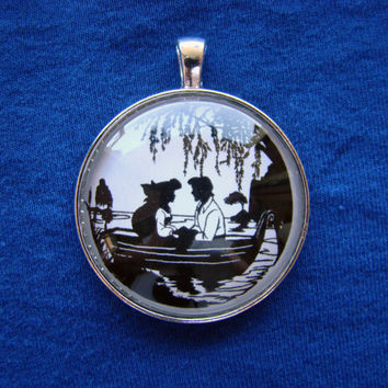Kiss the Girl - Ariel and Eric from The Little Mermaid Silhouette Cameo Pendant Necklace