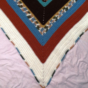 Triangle Shawl 68 inches x 48.5 inches, Warm Wrap, Crochet Stole, Earth tones, White, Brown, Green, Blue, Crochet Shawl, Multi color Shawl,