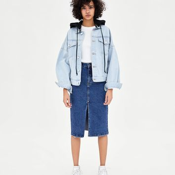 HI-RISE DENIM MIDI SKIRT