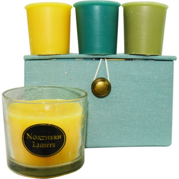 CANDLE GIFT BOX STELLA by CANDLE GIFT BOX STELLA BLUE, BROWN AND CREAM STRIPED BOX SET CONTAINS ONE GINGER TEA & HONEY SMALL GLASS VASE & THREE VOTIVES FEATURING LIME BASIL, OCEAN BREEZE AND GINGER TEA & HONEY *DNU SEE 288895