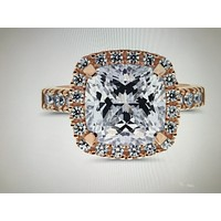 A perfect 14K Rose Gold 5CT Cushion Cut Halo Russian Lab Diamond Engagement Ring