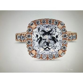 A perfect 14K Rose Gold 5.4CT Cushion Cut Halo Russian Lab Diamond Engagement Ring