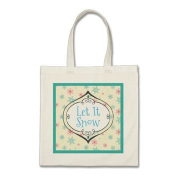 Let it Snow Pink And Blue Snowflake Pattern Tote Bag