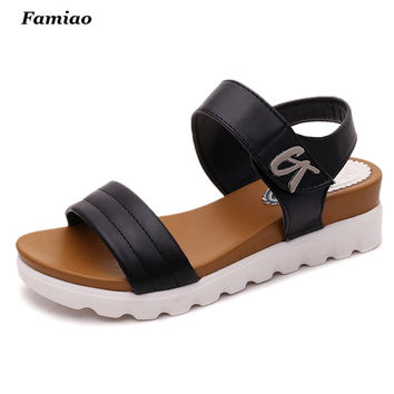 sandalias mujer  summer gladiator sandals women aged leather flat fashion sandals comfortable ladies shoes