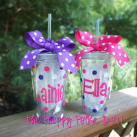 Personalized 16oz Tumbler cup with Lid & Straw CLEAR