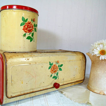Rustic Depression Era DecoWare Metal Bread Box & Matching Canister - Vintage Chippy Red Litho Decorated 2 Bins - Shabby Chic Kitchen Storage