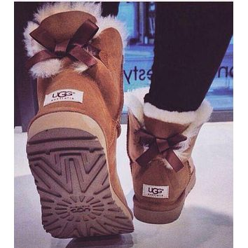 """UGG""Winter Classic Fashion Women Warm Wool Snow Boots Brown I/A"