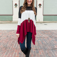 Drape Lengths Top, Burgundy/Black