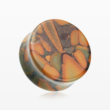 A Pair of Bamboo Jasper Stone Double Flared Ear Gauge Plug