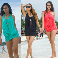 3 Colors!!!New One Piece Padded Monokini Halter Ladies Swimsuit M L XL 2XL