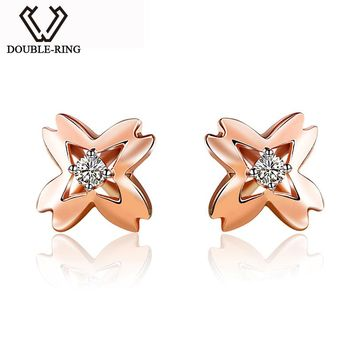 DOUBLE-RING Fine Jewelry Bijouterie 18K gold Romantic Real Diamond Ladies Bridal Wedding Love Gift Earrings For Women CAE00596C