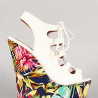 Women's Dollhouse Floral Print Cutout Lace Up Platform Wedge