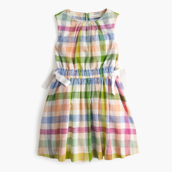 Girls' dress in oversized rainbow gingham : Girl dresses | J.Crew