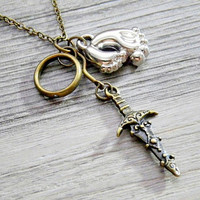 Hobbit's necklace: The One Ring, Elvish Dagger and Hobbit Feet charms necklace