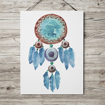 Boho poster Tribal print Dreamcatcher print Watercolor decor ACW795