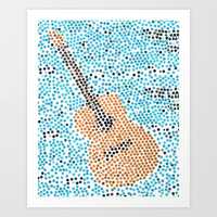individually pasted hexagons by hand in a guitar shape.. my hand hurts now...   Art Print by Studiomarshallarts