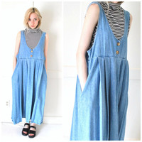 90s CHAMBRAY dress vintage 1990s dresses OVERSIZED relaxed fit GRUNGE slouchy denim midi dress large os