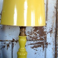 Vintage Lemon Yellow table lamp with by SaffronColoredPony on Etsy