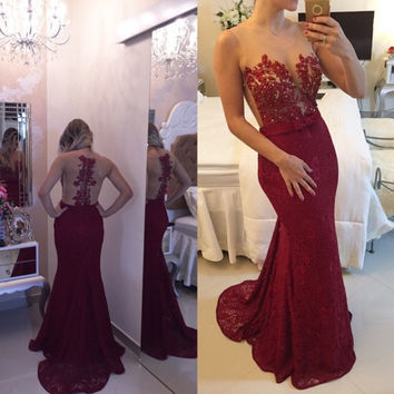 Illusion Blackless Prom Dress Evening Party Dresses pst0575