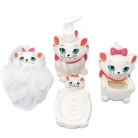 set of 4pc Disney Marie cat Bathroom soap dish Lotion Bottle shower set