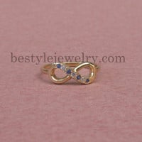 Infinity Ring With Diamonds - Wedding Gift - Gift For Wife - Eternity Promise Ring - Infinity Symbol Ring - Sterling Silver/18K Gold Plated