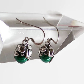 Malachite and Sterling Silver Frog Dangle Earrings