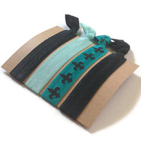 Elastic Hair Ties Teal and Black Fleur de Lis No Crease Yoga Hair Bands